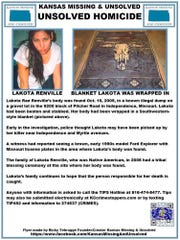 This missing person poster provided by Kansas Missing and Unsolved is seeking information in the 2005 homicide of Lakota Renville, whose body was found in Independence, Mo. She was a straight-laced girl who didn't smoke cigarettes, drink or take drugs, says her sister, Waynette. But her life took a dramatic turn after she met a man online in 2003 and moved from South Dakota to the Kansas City area. (Courtesy of Kansas Missing and Unsolved via AP)