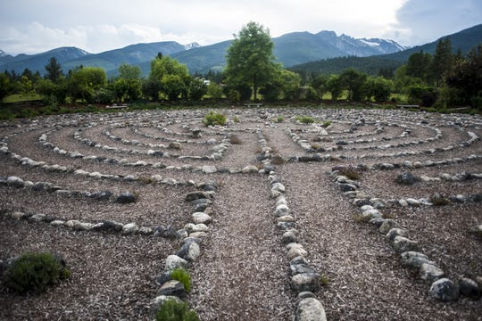 Red Sun Labyrinth, a path for walking meditation with a mountain view, is on private land but is open to the public in the Bitterroot Valley.
