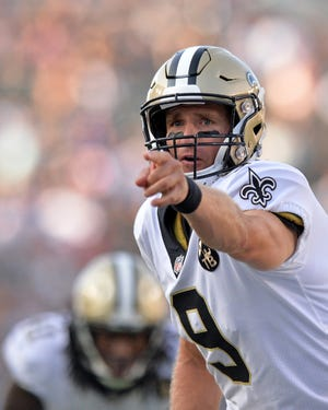 Aug 25, 2018; Carson, CA, USA; New Orleans Saints quarterback Drew Brees (9) gestures during the second quarter against the Los Angeles Chargers at StubHub Center. Mandatory Credit: Jake Roth-USA TODAY Sports