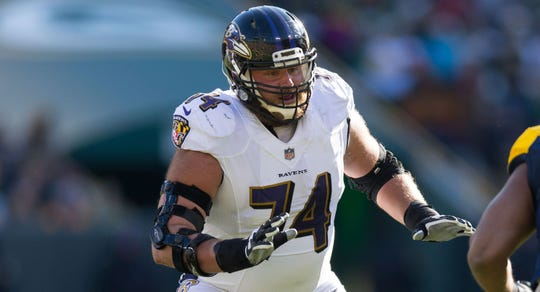 Nov 19, 2017;  Baltimore Ravens offensive tackle James Hurst (74) during the game against the Green Bay Packers at Lambeau Field.