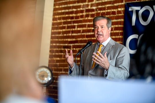 Democratic gubernatorial candidate Karl Dean speaks to a crowd gathered at a town hall at Brownsville Family Restaurant in Brownsville, Tenn., on Tuesday, Sept. 4, 2018.