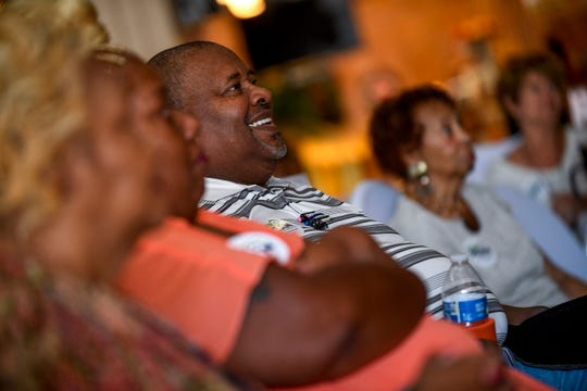 Audience members laugh after Democratic gubernatorial candidate Karl Dean cracks a joke at a town hall at Brownsville Family Restaurant in Brownsville, Tenn., on Tuesday, Sept. 4, 2018.