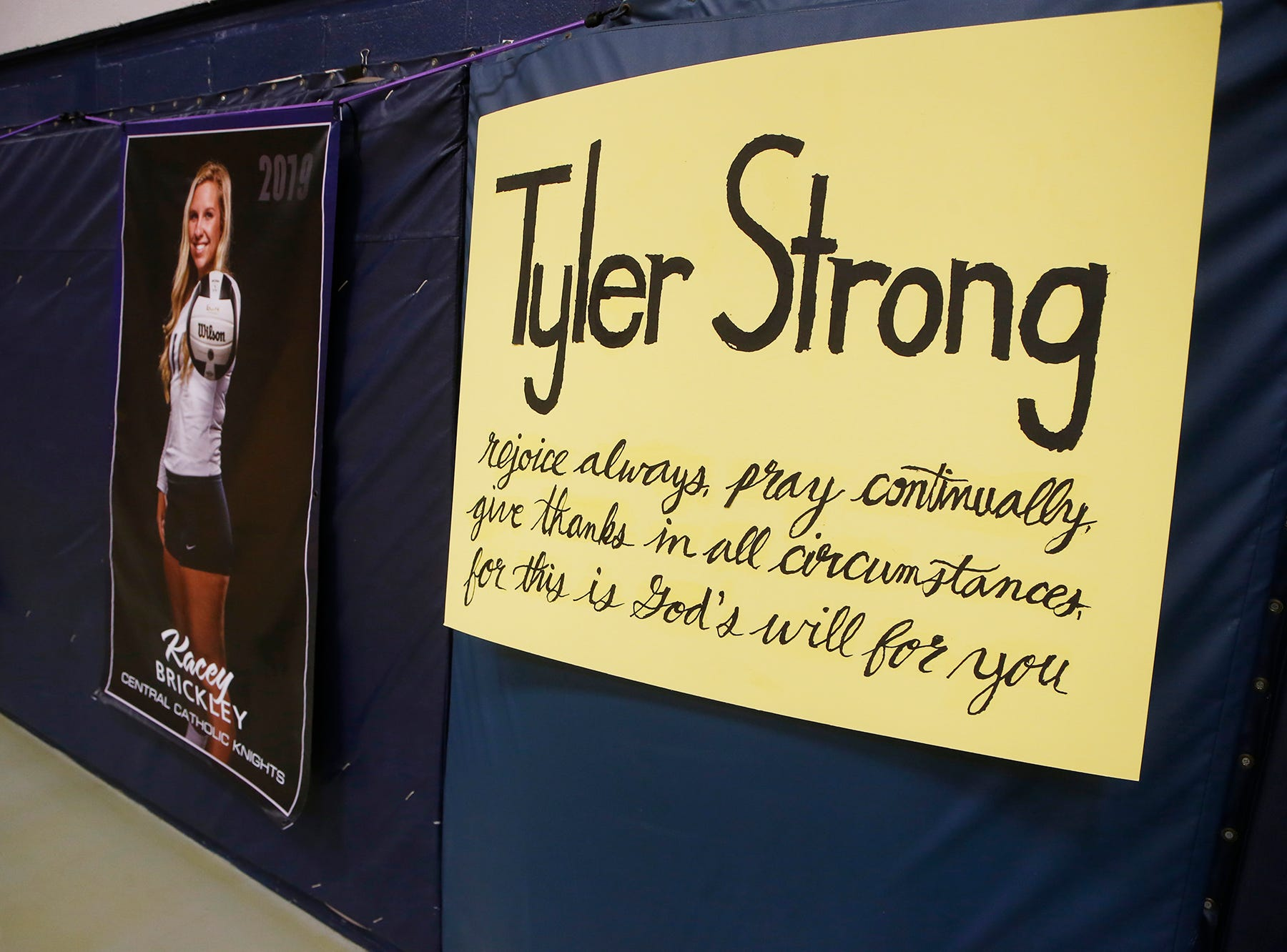 Posters to honor Tyler Trent as Central Catholic and Lafayette Jeff meet to Spike Out Cancer Tuesday, September 4, 2018, in Lafayette. Trent is a Purdue sophomore battling cancer. CC defeated Jeff 25-14, 25-17, 25-13.
