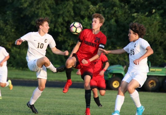 Nick Hayes (21) has provided a goal scoring boost for Pinckney in the early part of the soccer season.