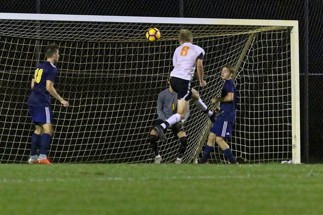 Charlie Sharp (8) scores on a header with 2:15 remaining, giving Brighton a 1-0 victory over Hartland on Tuesday, Sept. 4, 2018.
