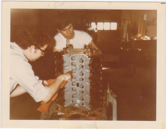 MSU SAE members Fred Bowen and Al Wilson work on components of their 1969 Oldsmobile Cutlass W-31 in the early 1970s.