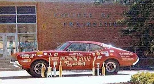 Members of the MSU Society of Automotive Engineers are looking for their 1969 Oldsmobile Cutlass W-31, seen here in front of the College of Engineering.