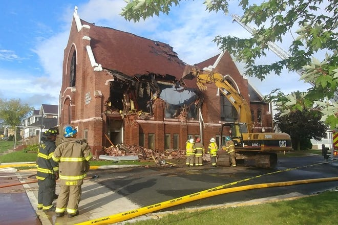 A photo of the Wesley United Methodist Church after a fire on Sunday night.