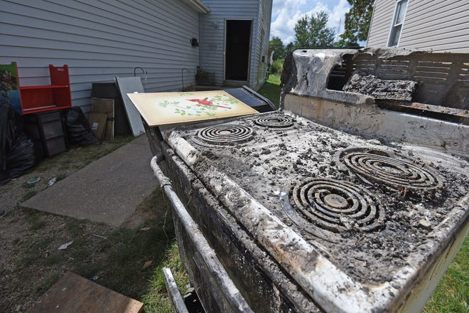 The fire started in the stove and spread while Laura Blevins and her family were gone.