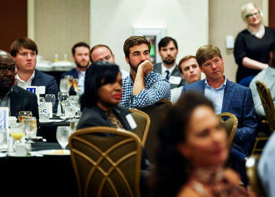 """Members of the Memphis Business Council listen to featured guests University of Memphis head basketball coach Penny Hardaway and Memphis Grizzlies head coach J.B. Bickerstaff during """"The Game Plan of Memphis Basketball"""" event Wednesday morning."""