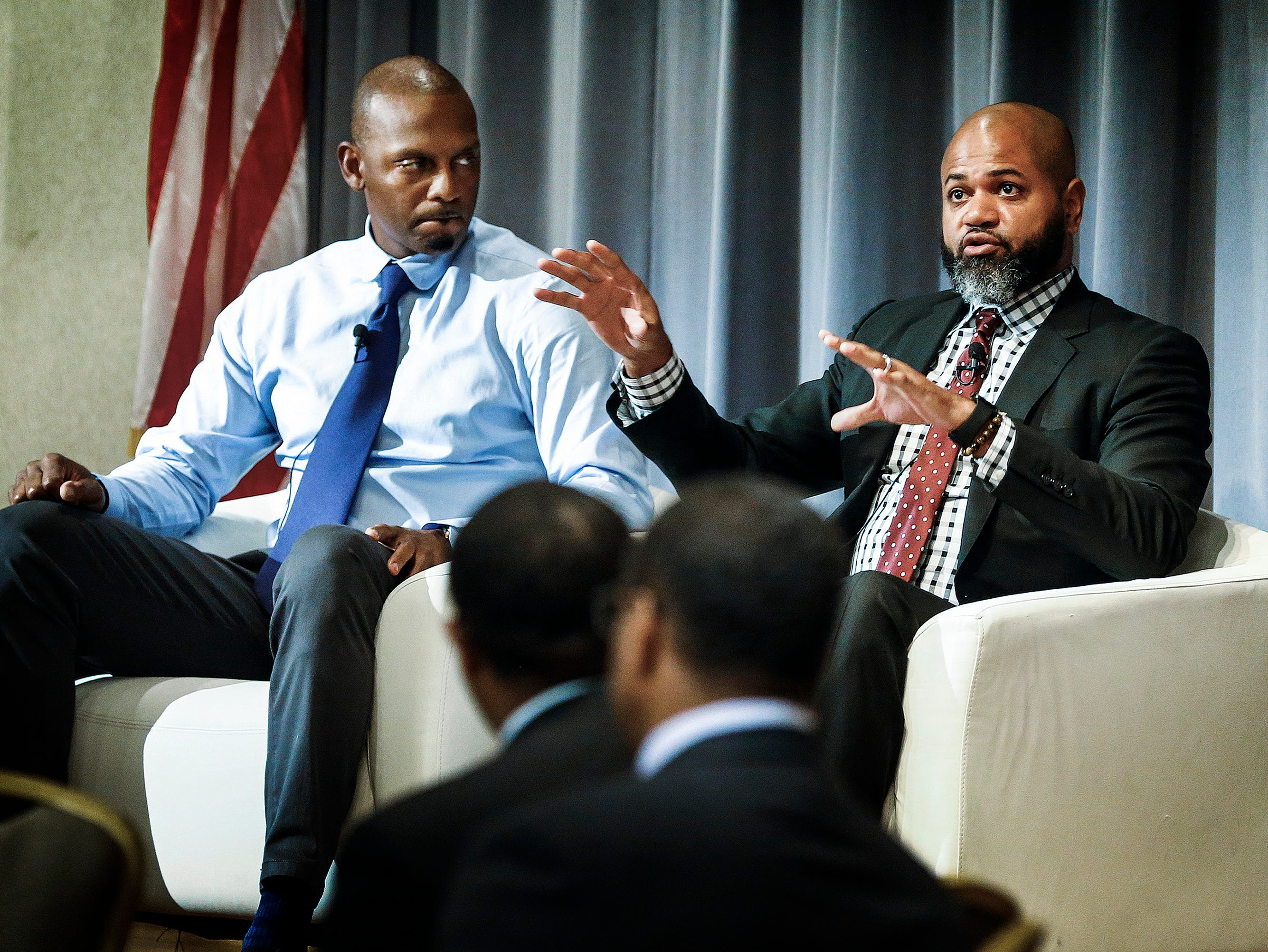 University of Memphis head basketball coach Penny Hardaway (left) and Memphis Grizzlies head coach J.B. Bickerstaff (right) were the featured guests at the Memphis Chambers The Game Plan of Memphis Basketball event  on Sept. 5, 2018.