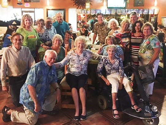 SEAgals and friends enjoyed a dinner at Mr.Tequila. Front: Ed Crane, Cathy Mendygraw and Sarah Richards; middle: Bill King, Patty Larkin, Pam Molander and Polly Lally; back: Cindy Crane, Adele Meilan, Tony Meilan, Ken Molander, Richie Carlsen, Myrna Noble, Mary Ann Cassidy, Don Lally, Jean King and Eileen Carlsen.