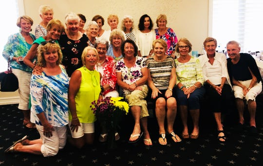 SEAgals and guests hosted a surprise birthday party for member Barbara Markel. Front: Cindy Crane, Rose Kraemer, Barbara Markel, Terry Andretta, Joyce Fenelon, Marilyn Kostelnik, JoeAnn Vesely and Margaret Moores; middle: Carol Hopp, Yvonne Hall, Joyce Kaelin and Patty Larkin; back: 