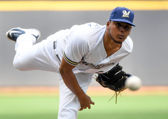 Rookie right-hander Freddy Peralta went 6-4 with a 4.40 earned run average in 14 starts.