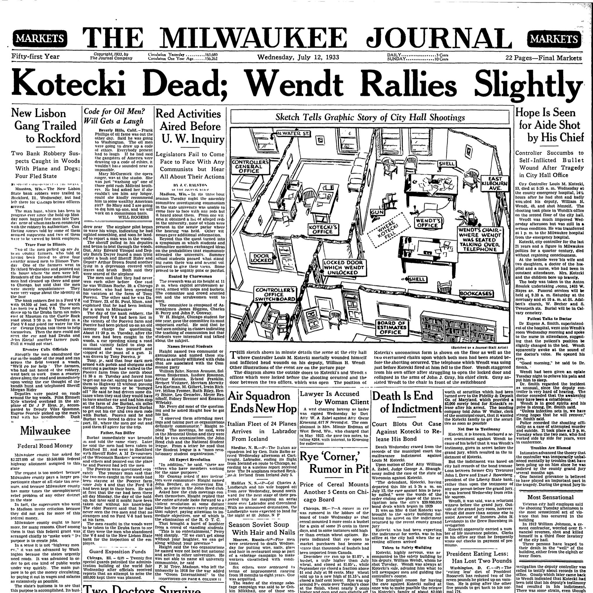 Stingl: Milwaukee comptroller shot up City Hall in 1933, but there's a memorial to him in a park