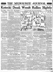 The front page of the July 12, 1933, edition of The Milwaukee Journal reports the attempted murder of Deputy Comptroller William Wendt by Milwaukee City Comptroller Louis Kotecki. Kotecki then committed suicide.