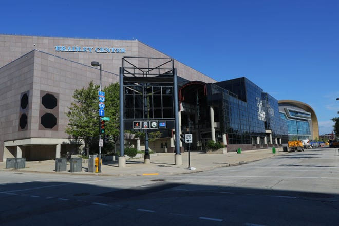 The BMO Harris Bradley Center is seen next to the new Fiserv Forum in Milwaukee on Wednesday, September 5, 2018.The first stages of demolition of the Bradley Center will begin in the next few weeks.-  Photo by Mike De Sisti / Milwaukee Journal Sentinel