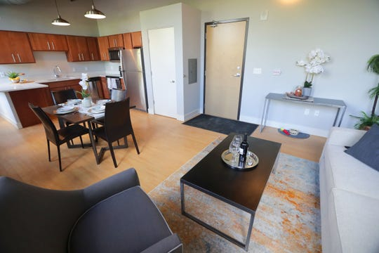 The kitchen and dining areas are seen in a one-bedroom model. The 756-square-foot apartment in the historic Fortress Building will rent for $1,500 an month.