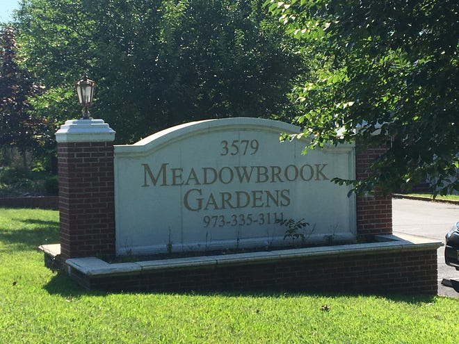 Sign for Meadowbrook Gardens apartments in Parsippany, where a woman allegedly stabbed her mother to death between Aug. 31-Sept. 1, 2018.