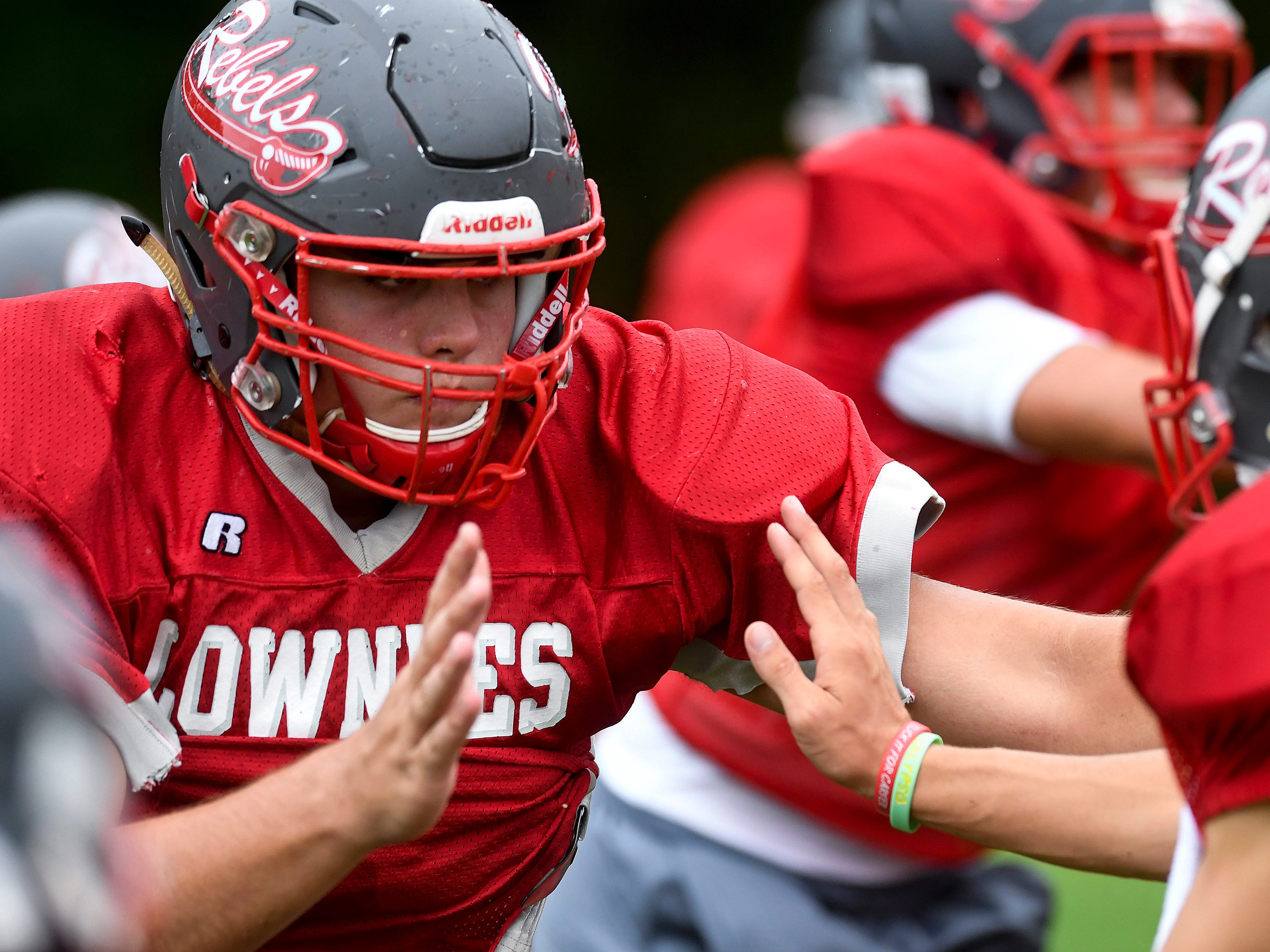 Lowndes Academy's Chase Little during practice in Hayneville, Ala., on Wednesday September 5, 2018.