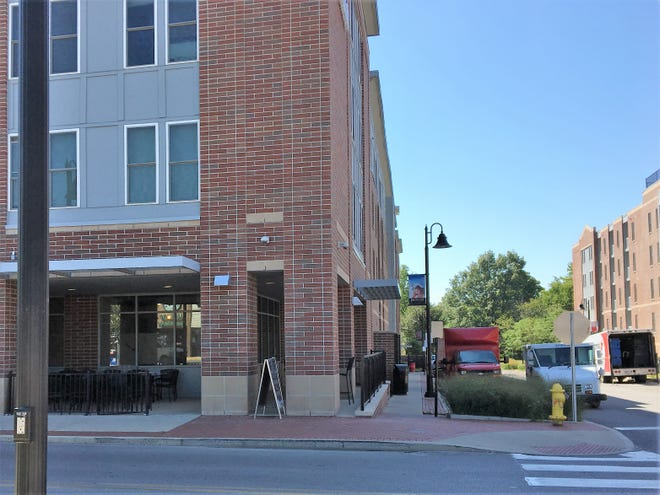 The corner of University Avenue and Dill Street, where Bevi Bistro is set to open in the Ball State Village.