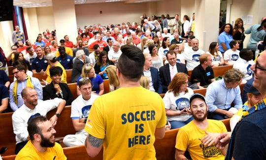 Supporters and opponents of an MLS soccer stadium at the fairgrounds fill the audience of the Metro Council chambers Sept. 4, 2018.