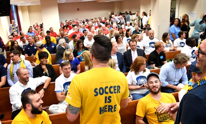 Supporters and opponents of an MLS soccer stadium at the fairgrounds fill the audience of the Metro Council chambers for the final votes on the project on Sept. 4.