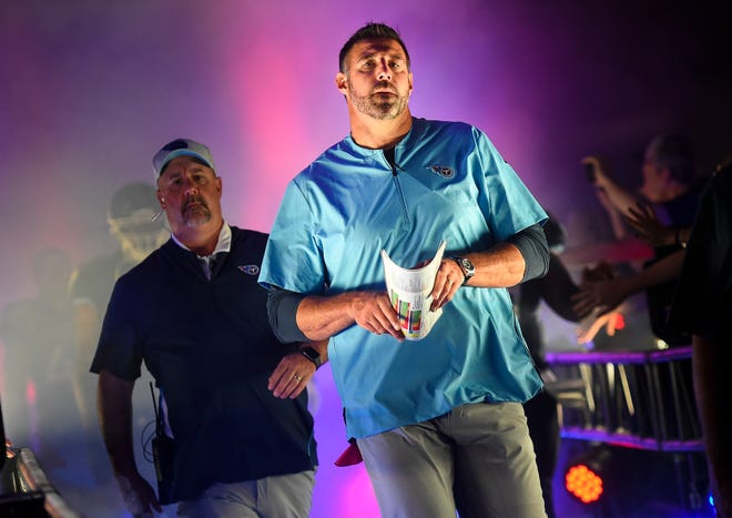 Titans coach Mike Vrabel walks out of the tunnel before a preseason game against the Vikings on Aug. 30 at Nissan Stadium.