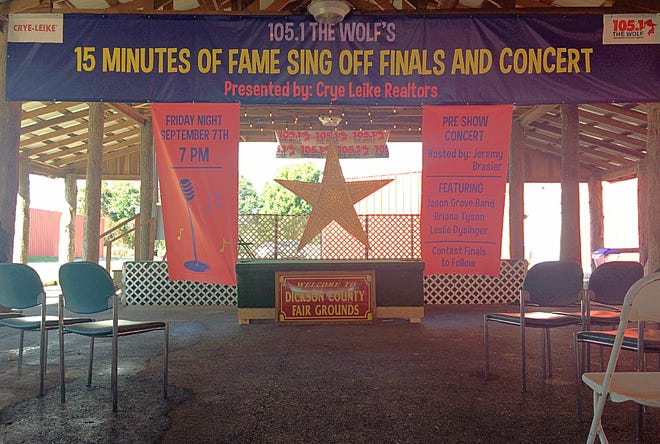 The stage for the 15 Minutes of Fame Sing Off event at the Dickson County Fairgrounds