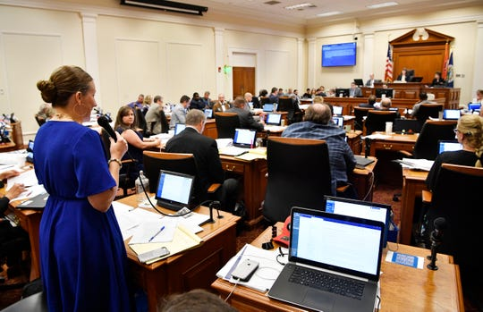 Metro council members debate during the final votes on Nashville's MLS stadium on Tuesday Sept. 4, 2018, in Nashville, Tenn.