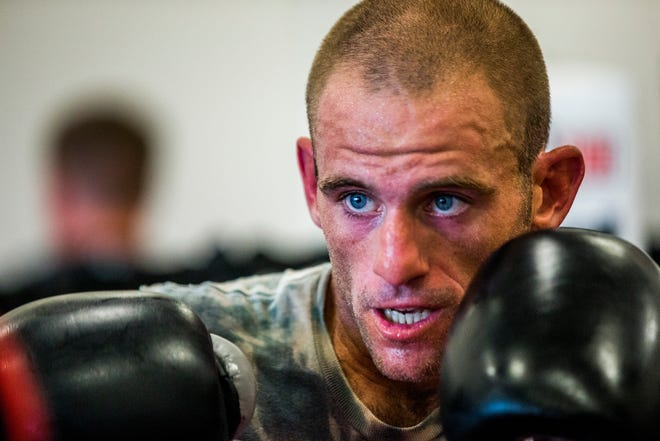 Tommy Bryant Jr., 29, shown training last week, beat Romain Tomas in a split decision at a racetrack in Massachusetts on Saturday night for his fourth career victory.