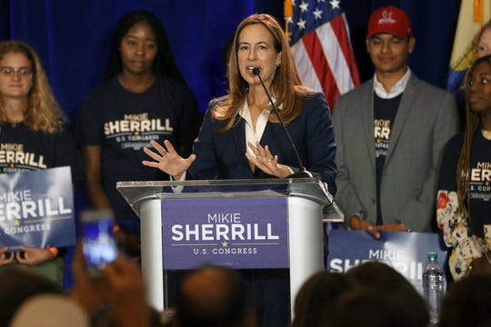 Mikie Sherrill, who is running for New Jersey's 11th Congressional District, speaks at Montclair State University on Sept. 5, 2018.