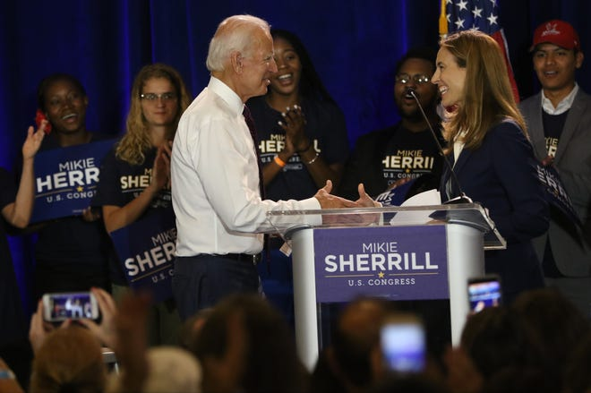 Former Vice President met congressional candidate, Mikie Sherrill at Montclair State University for a rally. Wednesday, September 5, 2018