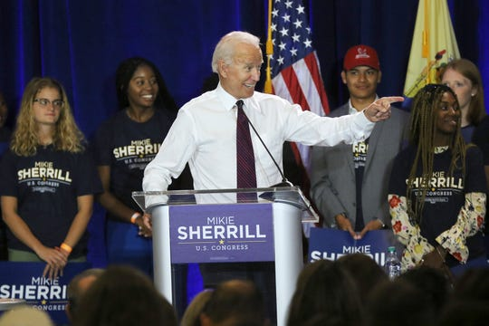 Joe Biden speaks at a Mikie Sherrill rally at Montclair State University. Wednesday, September 5, 2018