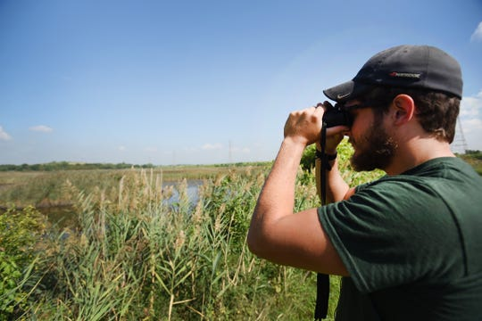 Drew McQuade, a Natural Resources Field Specialist for the NJ Sports and Exposition Authority, looks at birds through binoculars at the far end of the Transco Trail near the New Jersey Turnpike at Dekorte Park of the Meadowlands Environment Center in Lyndhurst on 09/05/18.