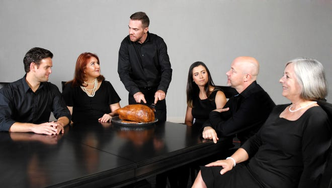 """The Dining Room,"" A. R. Gurney's episodic comedy about upper-middle-class families, runs at the Barn Theatre in Montville from September 7 through 29.  The ensemble cast consists of (left to right) Dale Monroe, Bridget Burke Weiss, Patrick McAndrew, Natalie LaSpisa, Craig Zimmermann and Roxanna Wagner."