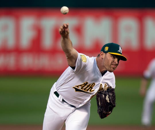 Sep 4, 2018; Oakland, CA, USA; Oakland Athletics starting pitcher Liam Hendriks (16) delivers against the New York Yankees during the first inning of a Major League Baseball game at Oakland Coliseum.