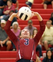 Sophomore Lady 'Cat setter Kamryn Zachek had a busy night chasing down passes against Santa Teresa.