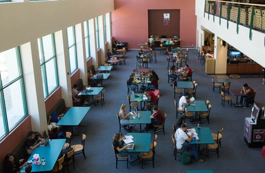 New Mexico State University students eat and study at NMSU's Corbett Center Student Union on Wednesday, Sept. 5, 2018.