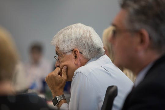 Dan Arvizu, chancellor of New Mexico State University, listens to the results of an institutional analysis diagnosing lack of communication and strategic focus during a work session Wednesday, Sept. 5, 2018, at Corbett Center.
