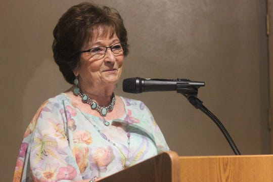 Shirley Jackson, cousin to Sonny Throckmorton, speaks during a ceremony in his honor, Sept. 5, 2018 at the Carlsbad Museum and Art Center.