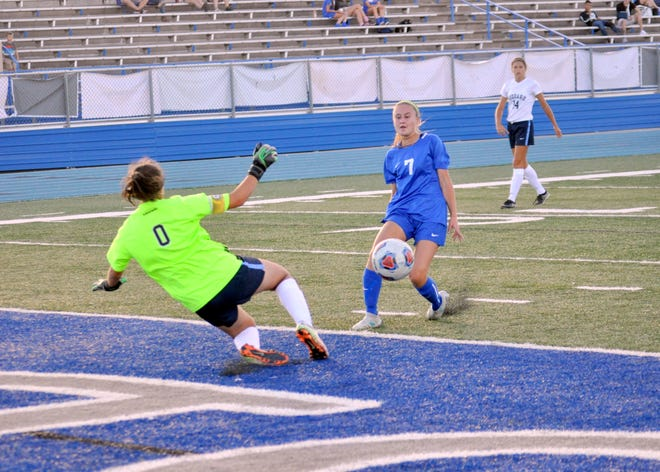 Saydie Bickerstaff gets a shot off during Tuesday's match against Goddard. She finished the game with three goals and one assist.