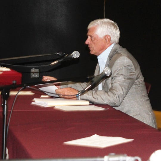 State Senator Ron Griggs (R-Alamogordo) presents two draft bills about liquor licenses to the Economic and Rural Development Committee Tuesday in Alamogordo.