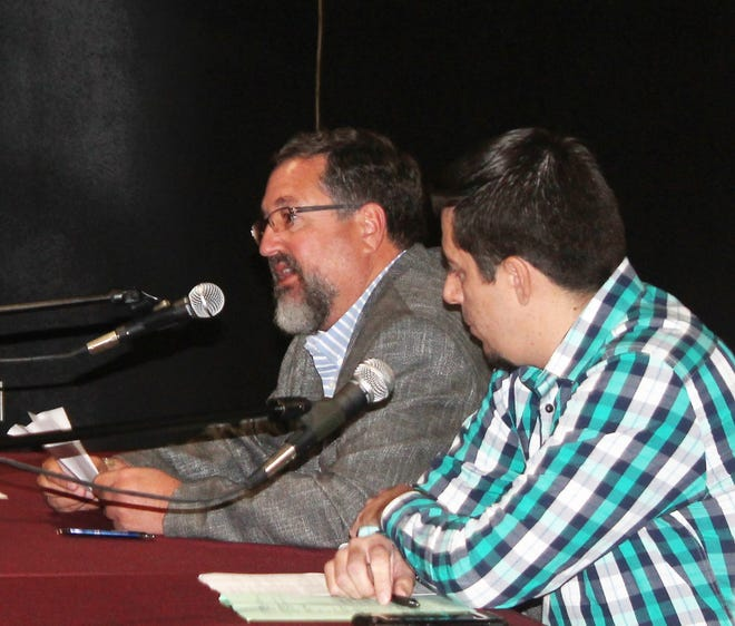 Restauraneurs Matt DiGregory of Home on The Range, left, and Russell Hernandez of Salud! de Mesilla address the Economic and Rural Development Committee Tuesday in Alamogordo.