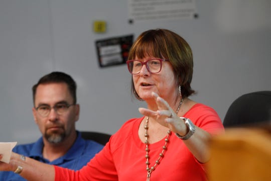 Board member Sherry Galloway criticizes a plan to purchase the Hillcorp building during a Farmington school board meeting Wednesday at the district's central office.