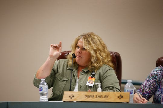 San Juan County Clerk Tanya Shelby talks about straight-party voting Wednesday during a San Juan County Commission meeting at the county administration building in Aztec.