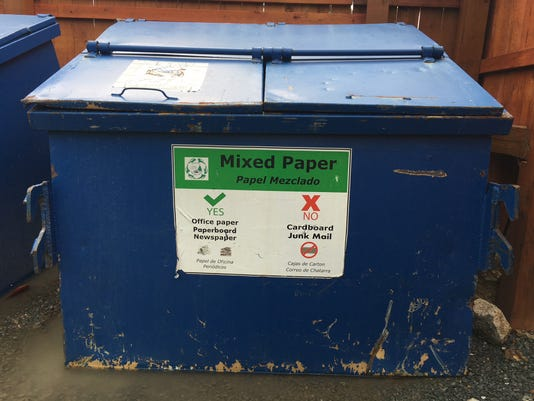 recycling dumpster for mixed paper