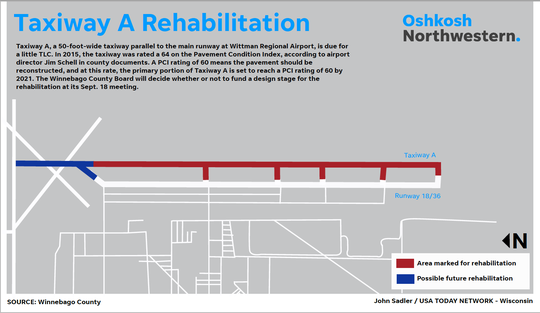 This graphic shows the location of the proposed rehabilitation for Taxiway A at Wittman Regional Airport.