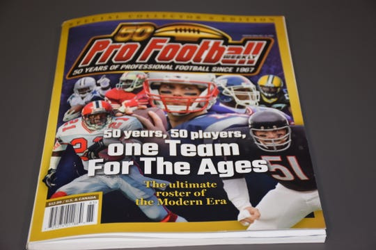 Cover of commemorative edition of Pro Football Weekly naming 50 greatest NFL players of past 50 years.