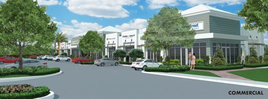 A rendering of the commercial area that could be part of The Lakes of Woobine, a planned residential and commercial neighborhood slated to go on 240 acres off Woodbine Road in Pace